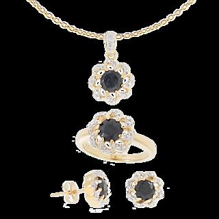 Parure Elixir Saphirs Diamants + Chaîne