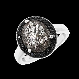 Un bijou ensorcelant. Argent 925 rhodié 1 quartz rutile de 2.54cts 24 spinelles noires.
