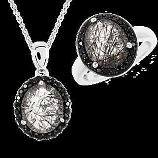 Des bijoux ensorcelants. Argent 925 rhodié 2 quartz rutile 48 spinelles noires Chaîne mailles forçat.