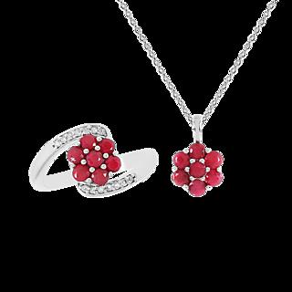 Une floraison de rubis. Argent 925 rhodié 14 rubis traités 14 zircons naturels Chaîne maille forçat.