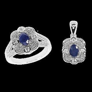 NEW YORK DESIGN Bague Couronne Saphir 1 carat