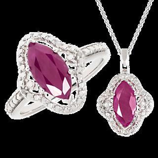 Rubis marquise ! Argent 925 rhodié 2 rubis totalisant 2.25cts 2 éclats de diamant.