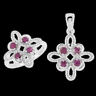 Orné de 4 magnifiques rubis. Argent 925 rhodié 8 rubis totalisant 1.04ct 2 éclats de diamant.