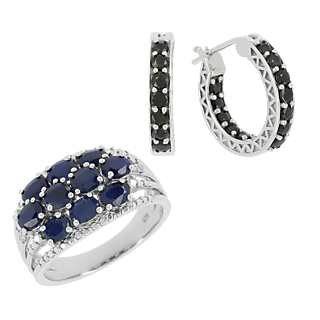 La célébration du saphir ! Argent 925 rhodié 34 saphirs traités 3,66cts 2 éclats de diamant.