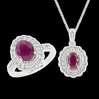 Une monture royale ! Argent 925 rhodié 2 rubis pour 3cts 2 éclats de diamant Chaîne maille forçat.