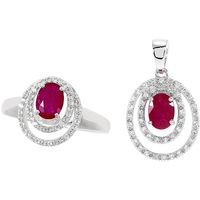 Réchauffez votre coeur ! Argent 925 rhodié 2 rubis rouges 2cts 4 diamants, forme ronde.
