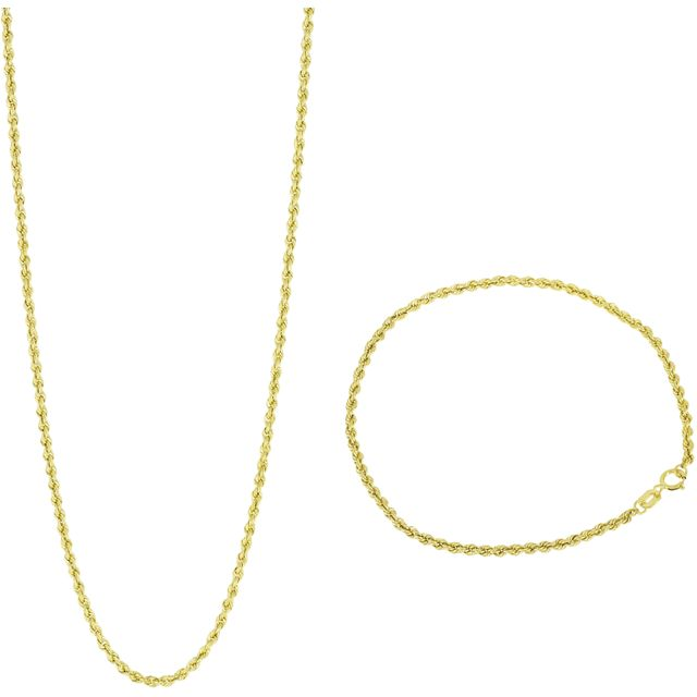boutiqueteva.com SELECTION OR 375 Collier Corde + Bracelet - Téléachat Teva